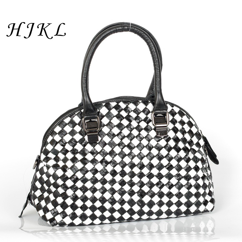 HJKL Genuine Leather Hand Weaving Handbag Cowhide Black and White Striped Tote Retro Shoulder Bag Messenger Bag for Women 2018