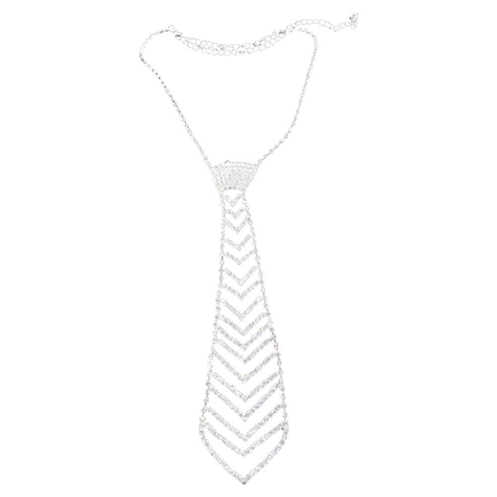 Glitter Rhinestone Shiny Necktie Necklace Fashion Portative Necklace For Wedding Party Prom (Silver)