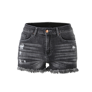 Sexy Denim short summer Casual women high waisted tassel elastic lace up bandage shorts hotpants pants denim black ripped short