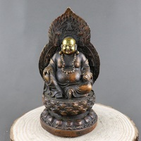 Antique QingDynasty copper Statue,Laughing Buddha sculpture,hand carving crafts,Home Decoration,handmade crafts/Collection