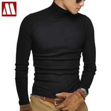 2018 New Fashion Brand Men's Stretch TShirt Solid Mandarin Collar Long Sleeve T Shirts Men Slim Casual Mens T-Shirt Plus Size