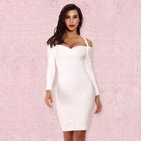 Deer Lady Wholesale 2017 Long Sleeve Bandage Dress Women Bodycon Mini White Sexy Off Shouler Bandage