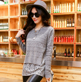 Latest Spring Women Sweaters Winter Fashion Grey Long Sleeve Free Shipping Contrast Lace Cute Casual Knit Sweater
