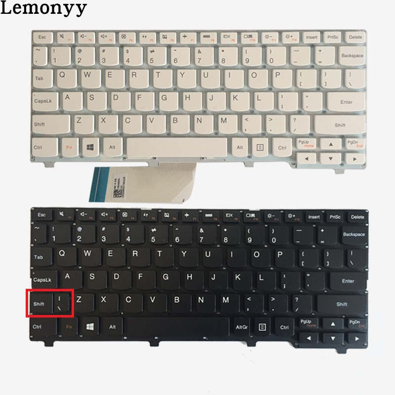 купить New US laptop keyboard For Lenovo ideapad 100S 100S-11IBY English keyboard black/white по цене 785.37 рублей