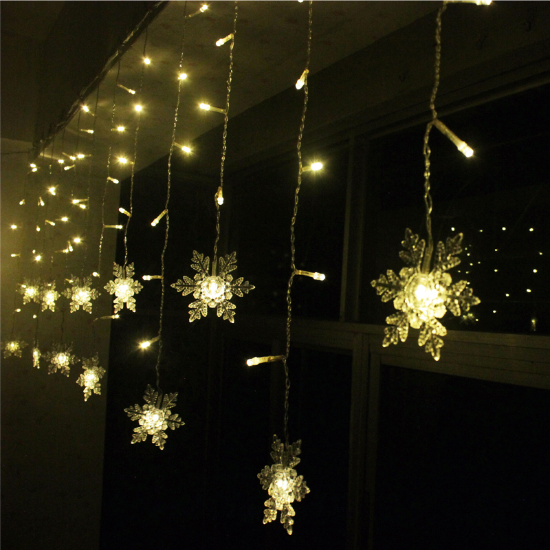 Snowflake curtain window lights curtain menzilperde net for Window net lights