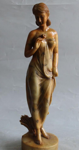 """19"""" China Shou Shan Stone Stand Sexy Nude Belle Woman Miss Lady Statue Sculpture R0711 B0403"""