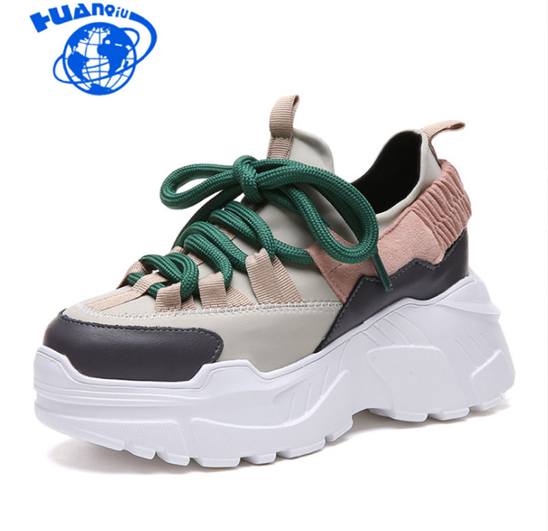 HUANQIU 2018 Spring Autumn Women Casual Shoes Comfortable Platform Shoes Woman Sneakers Ladies Trainers chaussure femme