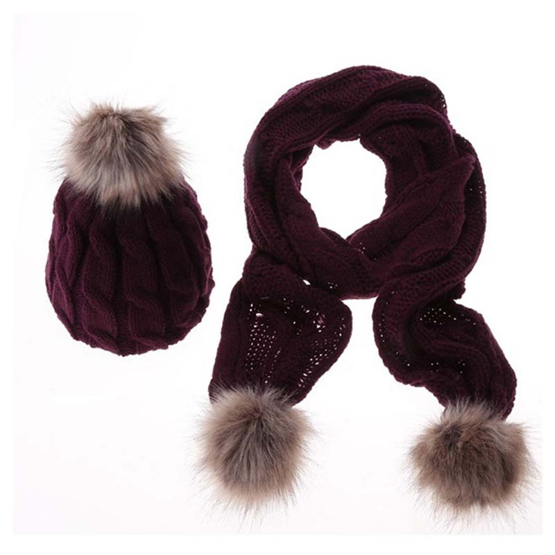 King Star Womens Winter Thick Cable Rib Knit Crochet Beanie Skull Girls Outdoor Windstoper Fur Plush Cable Rib Hat Scarf Set
