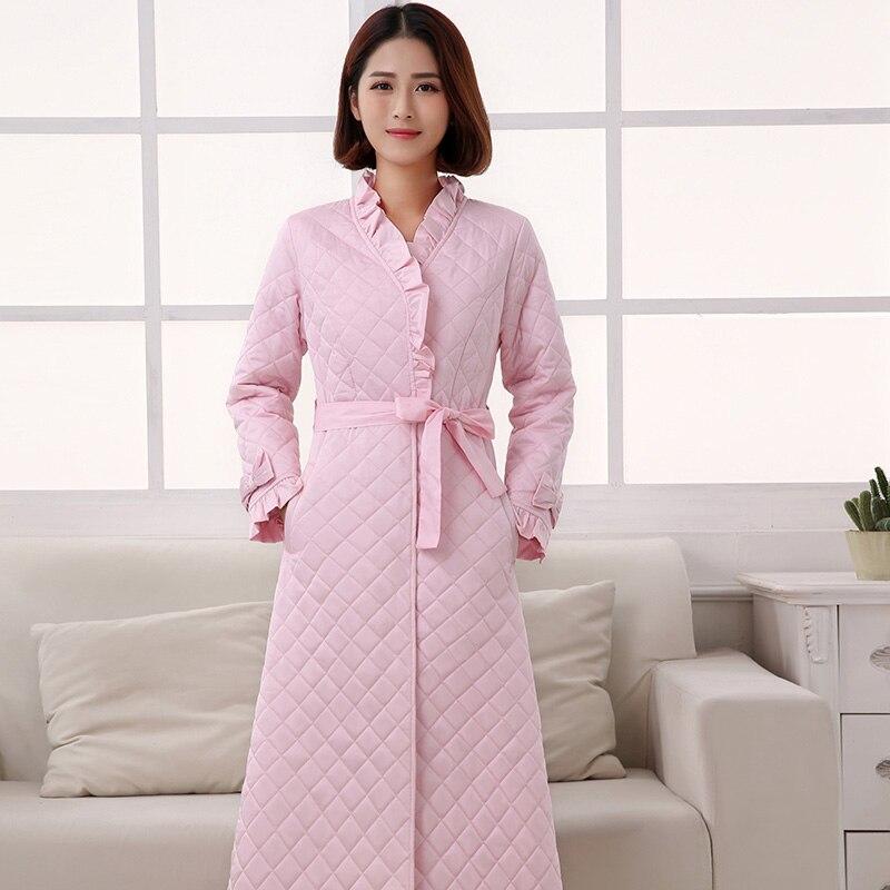 c97173f803 Free Shipping Retro Princess Wind Long Nightgowns Thermal Thick Winter  Women Sleepwear Pijama Long-Sleeved Nightdress SA16058