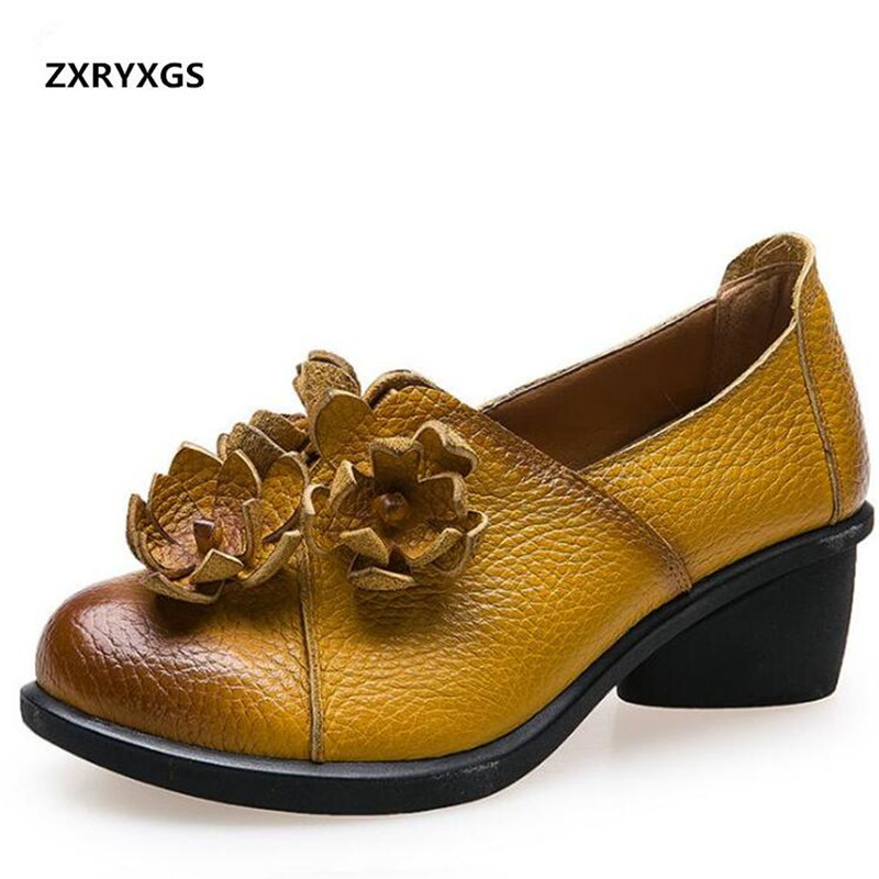 2018 Spring New Retro Flower Genuine Leather Shoes Elegant Comfortable Women High Heel Shoes Soft Breathable Fashion Shoes Woman все цены