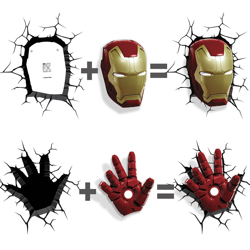 Guxen 3d marvel iron man hand head creative sticker super hero guxen 3d marvel iron man hand head creative sticker super hero wall lamp light decoration luminaires for childrens night lamp in led night lights from aloadofball Gallery