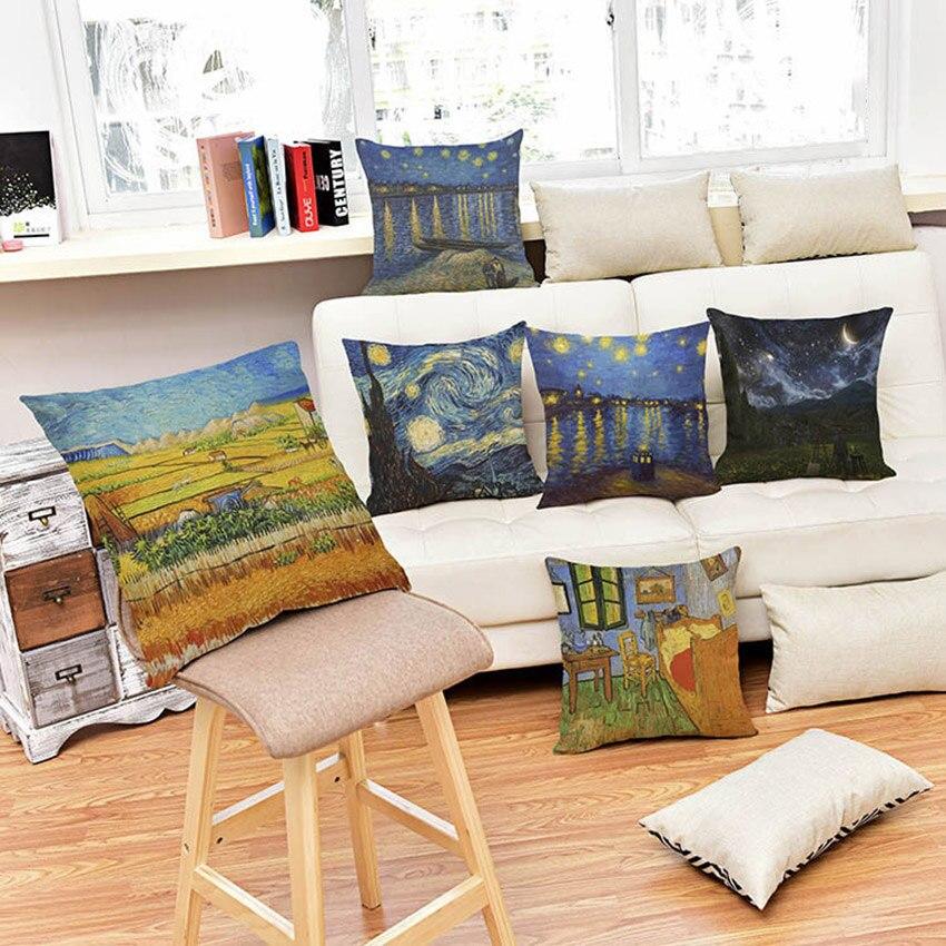 45X45cm Van Gogh Oil Painting Cushion Cover Linen Cotton