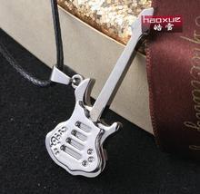 1pc Stainless steel guitar pendant necklace titanium steel cross necklace ! Wholesale
