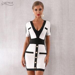 Image 3 - Adyce 2020 新夏の女性の包帯ドレス vestido セレブイブニングパーティードレスセクシーなディープ v 半袖ミニボディコンクラブドレス