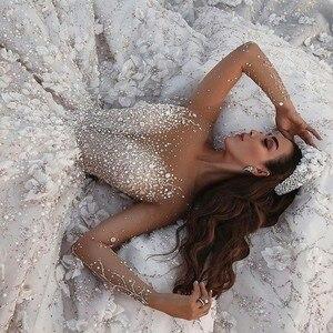Image 1 - Amanda Design Dubai Royal Long Sleeve Lace Applique Crystal Flowers Wedding Dress Luxury