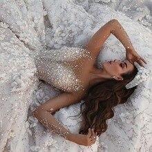 Amanda Disegno Dubai Royal Manica Lunga di Applique Del Merletto Fiori di Cristallo Abito Da Sposa Di Lusso