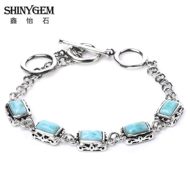 Natural Larimar Jewelry Lovely Link Chain Friendship More Views Silver Bracelet Cadence Sterling With