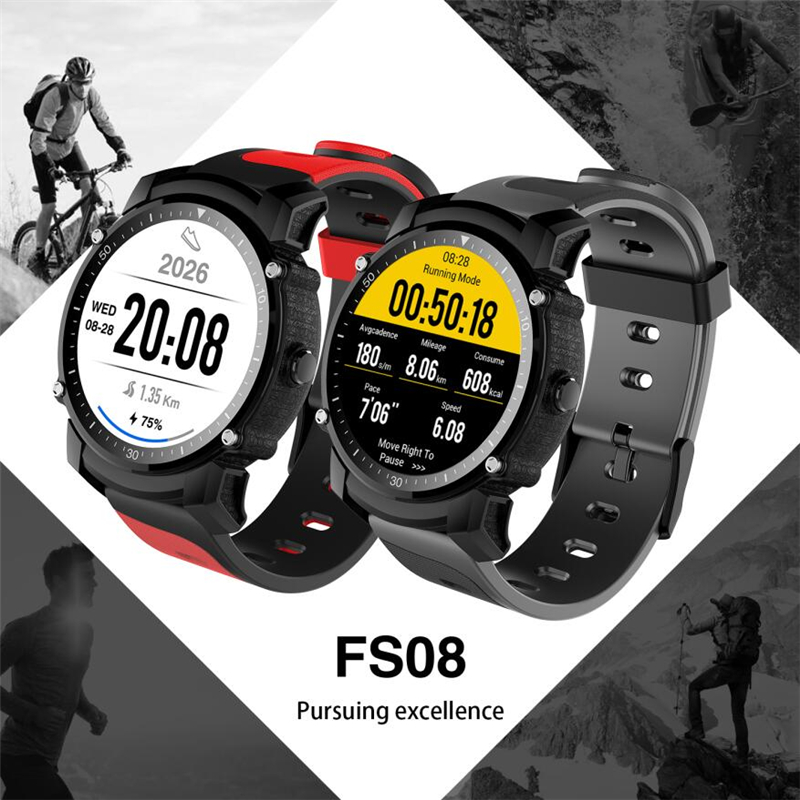 2018 New TOP WATCH FS08 Smartwatch MTK2503 GPS IP68 Resistant Bluetooth 4.0 Heart Rate Multi-mode Sports Monitoring vs S908 fs08 gps smart watch mtk2503 ip68 waterproof bluetooth 4 0 heart rate fitness tracker multi mode sports monitoring smartwatch