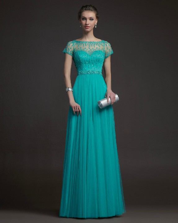 Free Shipping Teal Tulle Long Elegant Evening Dress Prom Formal Gown ...
