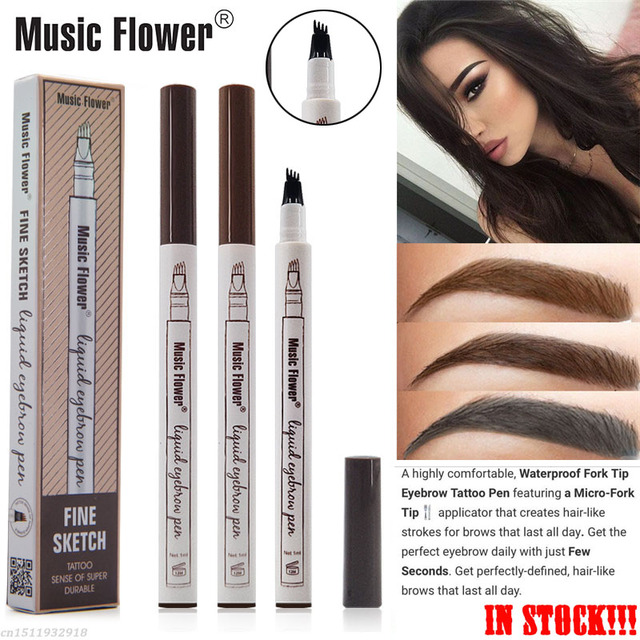 Music Flower Liquid Fine Sketch Henna Eyebrow Waterproof