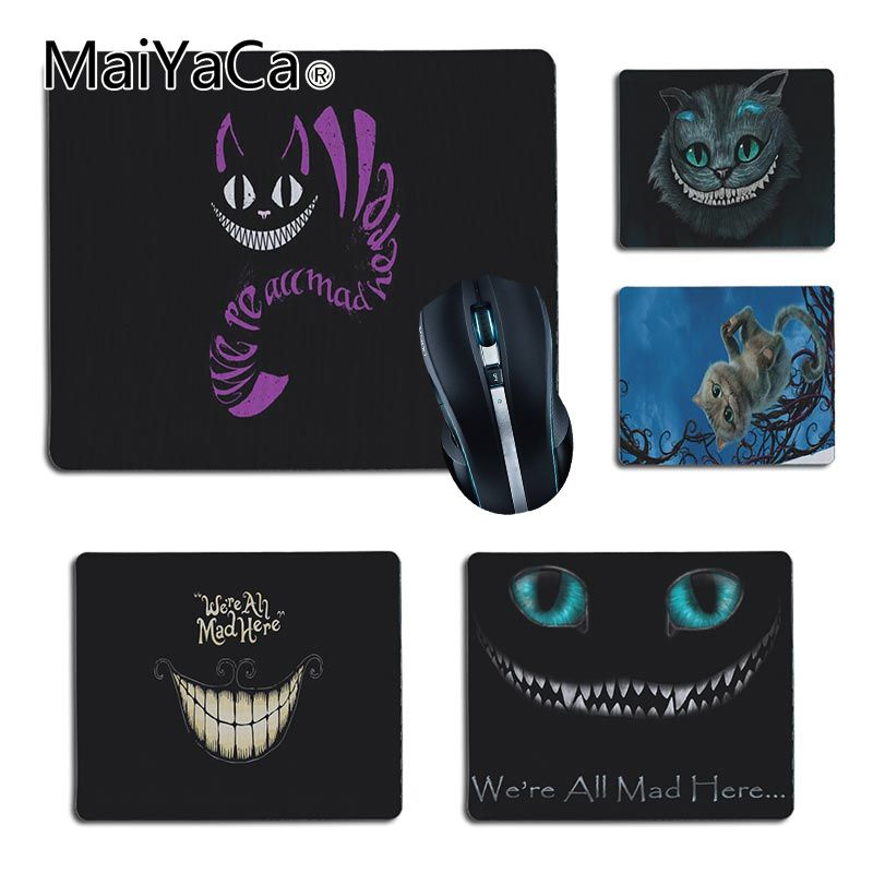 MaiYaCa Hot Sales  Alice In Wonderland Cat Face Gamer Play Mats Rubber Mouse Pad Size For 25X29cm 18x22cm Gaming Mousepads