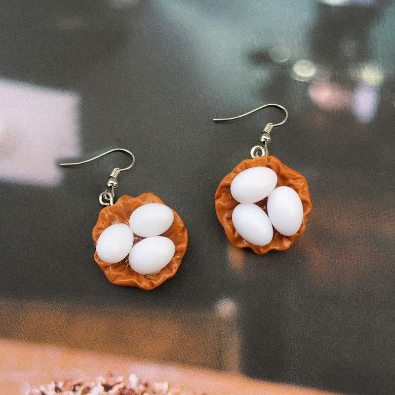 Creative Simulation Cute Resin Egg Drop Hook Earrings Unisex Fashion Jewelry in Drop Earrings from Jewelry Accessories