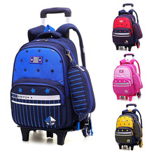 Removable Kids Trolley School Bags for Boys&girls Orthopedic Primary Escolar Bookbags Children 6 Wheels Climb Stair Backpack Bag