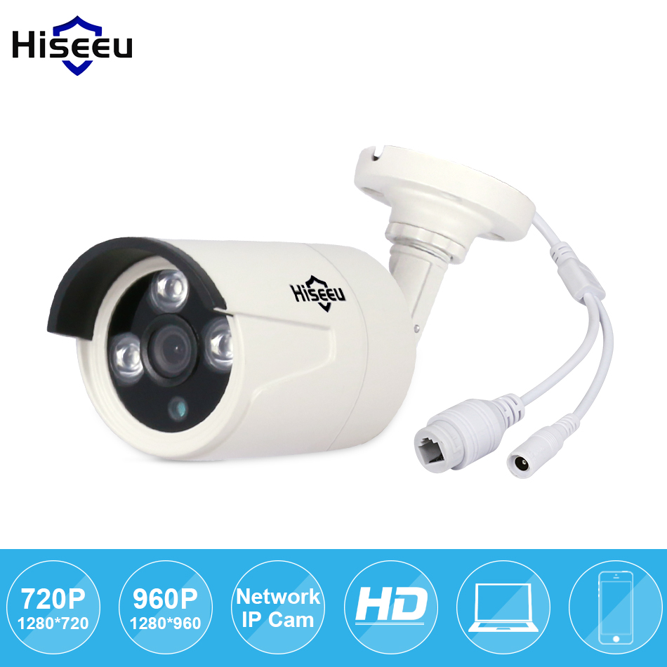 Hiseeu HD 720P 960P 1/1.3MP Mini Bullet IP Camera POE ONVIF Waterproof Outdoor IR CUT Night Vision P2P remote freeshipping HB6 1280 720p 1mp onvif poe bullet ip camera outdoor waterproof p2p ir cut filter network camera mini night vision cctv security cam