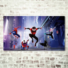 Animierte Film Poster Spinne Mann In Spider-Vers Drucke Comics Superhero Wand Kunst Bilder Für Kinder Kind Junge Zimmer decor(China)