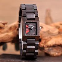 Reloj femenino de madera cuadrado pulso madera 3