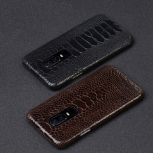 Genuine Leather phone case For Oneplus 7 7pro Case Natural Ostrich Foot Skin back cover 6T 6 5t 5 leather cases