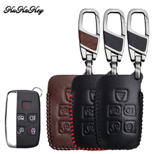 цена на Leather Car Key Case Cover For Land Rover Freelander 2 Range Rover A8 A9 Discovery Defender Car Key Shell Protection Car Styling