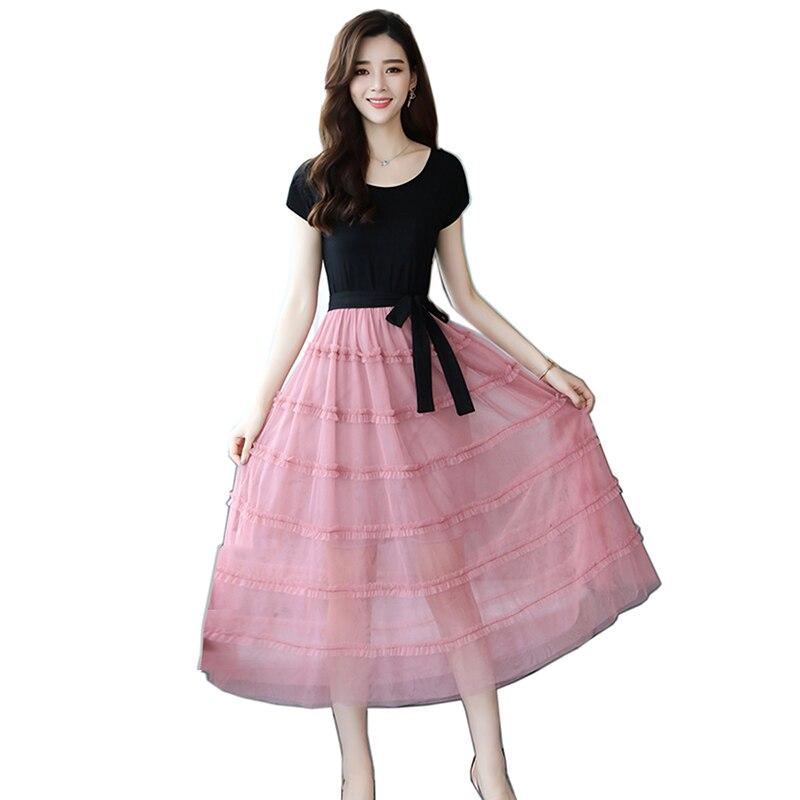 New Celebrity Inspired Party 2019 Spring Summer Dress Women Black Mesh long Dress Vintage Vestidos Femme short sleeve slim dress