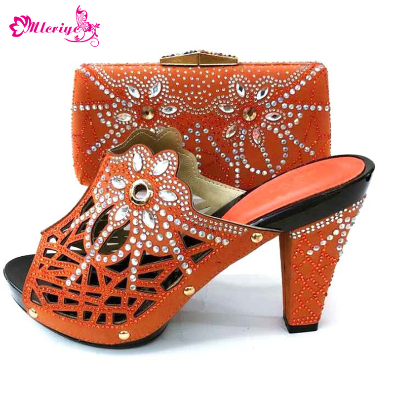 2019 New Fashion Elegant Women Shoes And Bag Set For Party Dress Summer Style High Heel Shoes And Bag Set 7Colors On Stock african desgin rhinestone high heel shoes and bag set for new summer style elegant shoes and bag sets free shipping mm10381