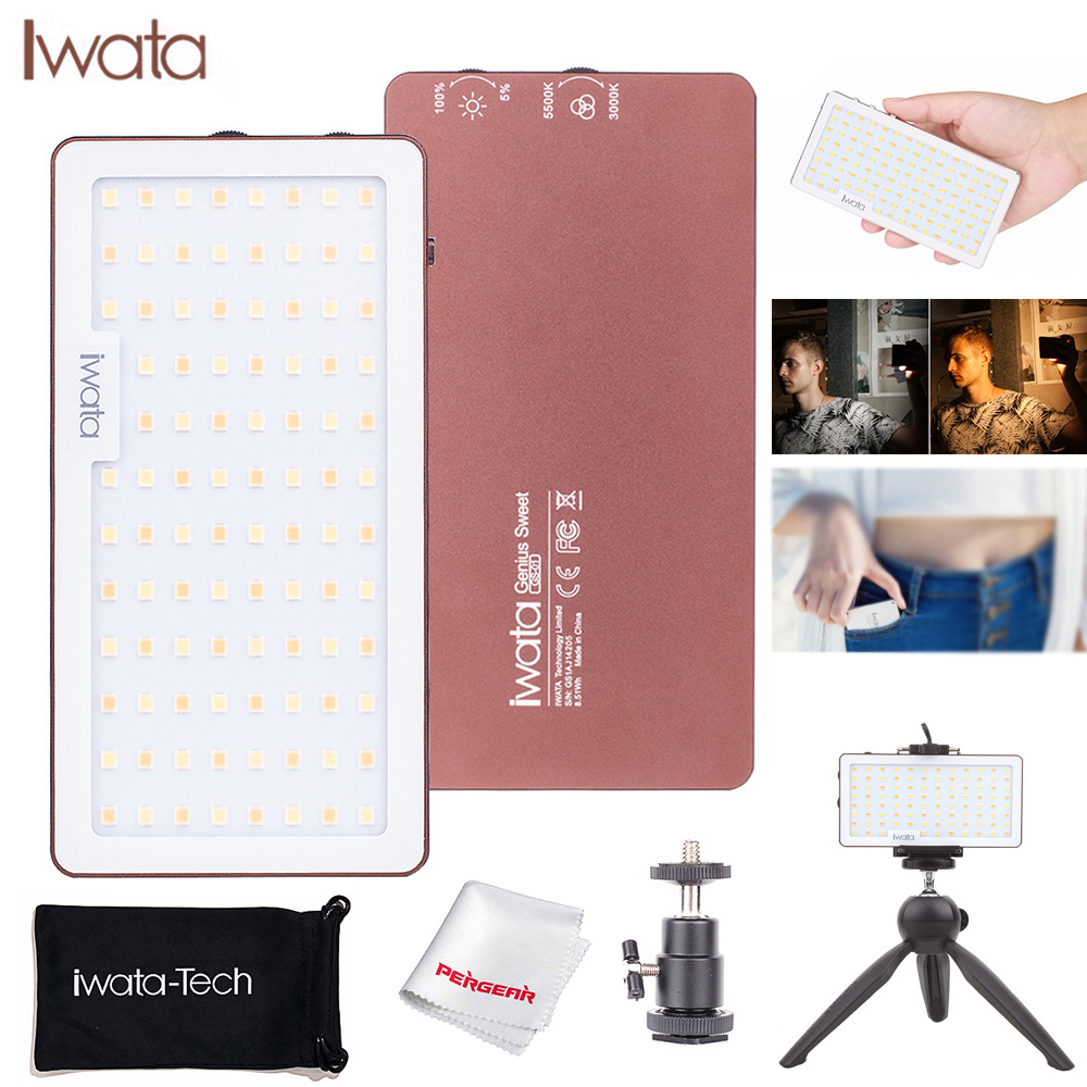 Iwata 94Pcs Pocket LED Phone Video Light Photography Ultra Thin Aluminum CRI96+ Dimmable 3000k-5500K with Battery & Table Tripod