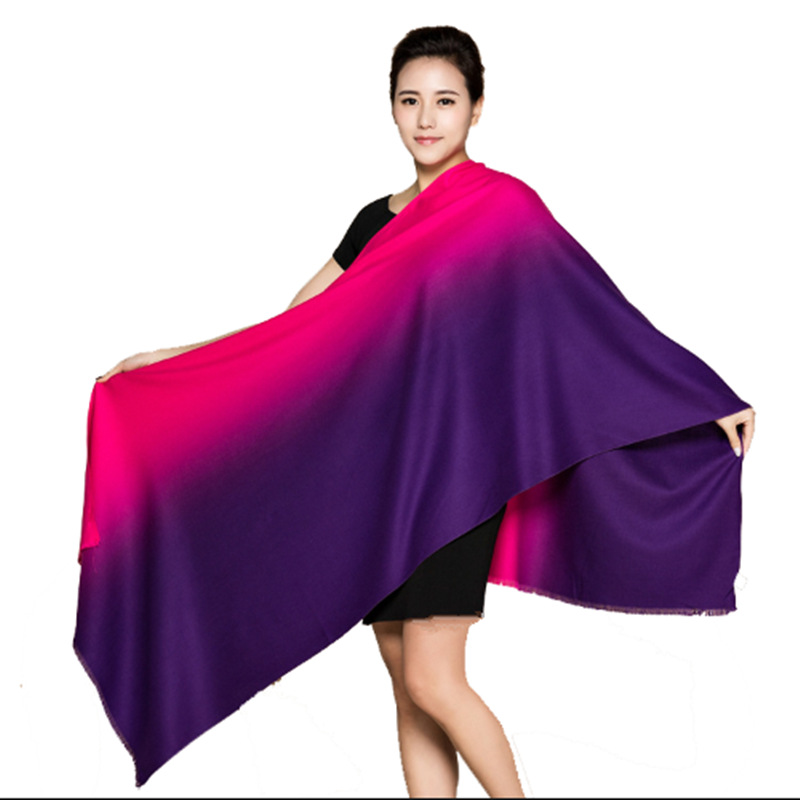 Winter Warm Women Long Gradient Color Shawl Fashion Faux Cashmere Tassel Soft Irregular   Scarves     Wraps