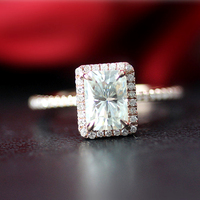 Luxury 7 5mm 1 2CT Carat Radiant Cut Moissanite Engagement Ring Solid 14K White Gold Moissanite