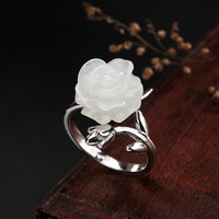 Fashion 100% genuine 925 Sterling Silver Rings For Women Retro rose flower S925 silver adjustable open ring for ladies