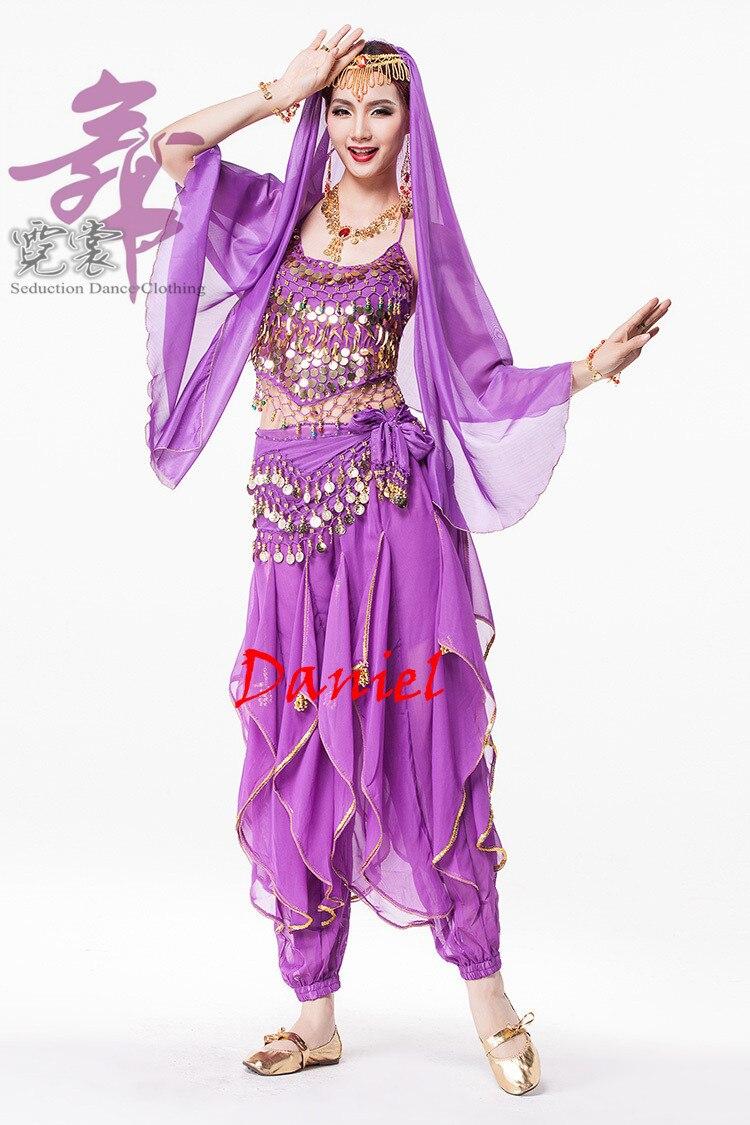 Indien Sari femmes danse du ventre Costume 4 pièces danse vêtements ensemble indien danse Costumes - 3