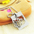 Square tags Autobots pendant necklaces bead chain for men women 316L Stainless Steel necklace wholesale