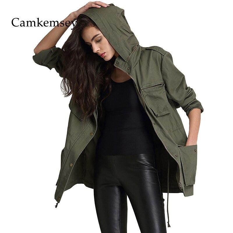 CamKemsey militaire armée vert veste manteau femmes 2018 printemps automne décontracté poches à manches longues à capuche veste femmes salopette