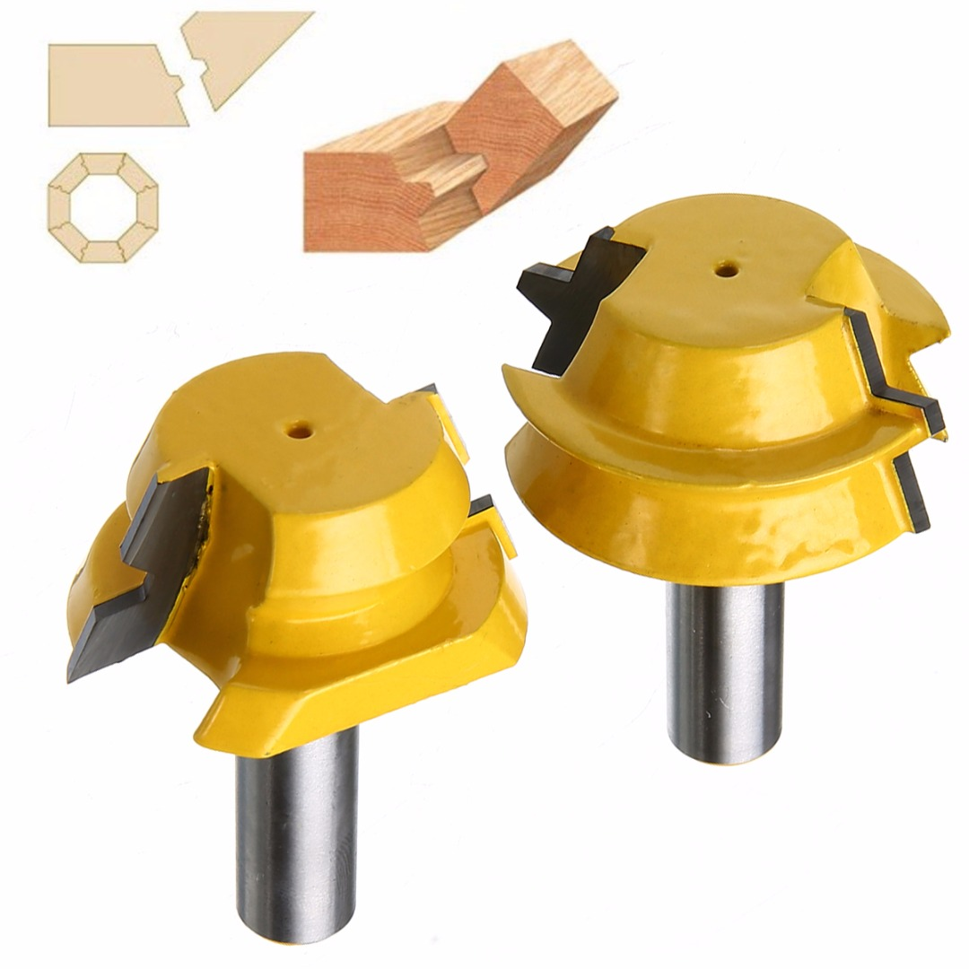 2pcs Durable Router Bit Mayitr Lock Miter Woodworking Milling Cutter 1/2 Shank Carbide Alloy 22.5 Degree Engraving Machine Tool 16pcs 14 25mm carbide milling cutter router bit buddha ball woodworking tools wooden beads ball blade drills bit molding tool