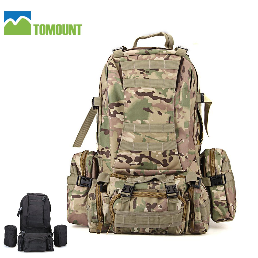 TOMOUNT Outdoor Hiking Backpack 65L Camping Bag Military Molle Tactical Rucksacks Backpack Camouflage Black Bag Pouch Backpack new arrival 38l military tactical backpack 500d molle rucksacks outdoor sport camping trekking bag backpacks cl5 0070