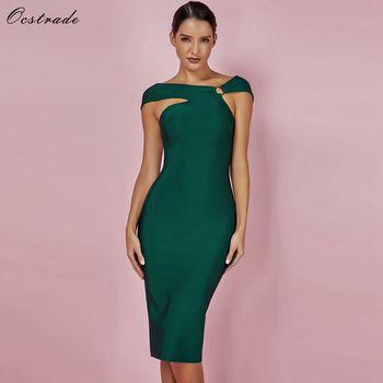 ff44824c0 Ocstrade vendaje vestidos de fiesta 2019 nuevas llegadas verde vendaje  Bodycon vestido Sexy de Shoulde de la longitud de la rodilla vestido de  vendaje