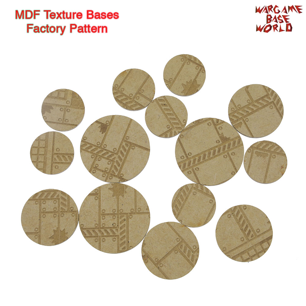 MDF Texture Bases - 25mm - 40mm Factory Pattern Bases - Texture Bases