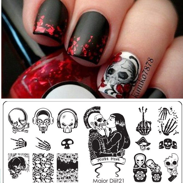 Halloween Nail Art Templates Manicure Stainless Steel Stamping Kit Sugar  Skull Nail Stamping Plate - Online Shop Halloween Nail Art Templates Manicure Stainless Steel