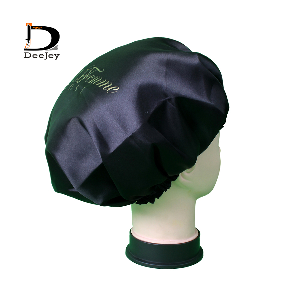 Customized print quality 2 layer polyester satin bonnets caring extention wig hairs sleep cap bath caps