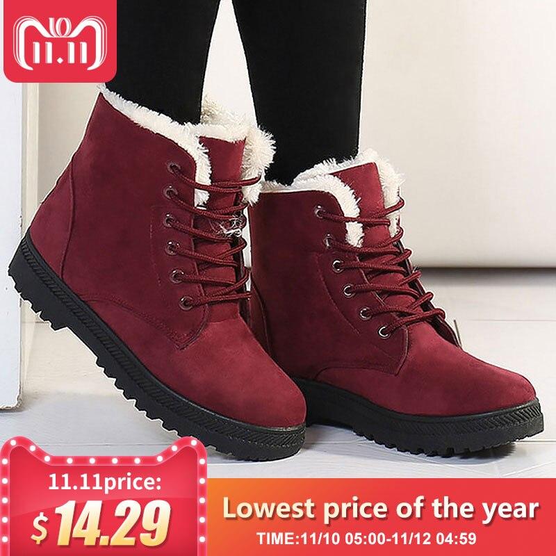 Botas de nieve calientes a la moda 2018 botas de invierno novedad botas de tobillo de mujer zapatos de piel cálida de felpa plantilla zapatos de mujer