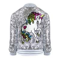 Spring Kids Clothes Sequins Unicorn Girls Jackets Children Outwear for Baby Girls Zipper Clothing Flight Jacket Coats Costume
