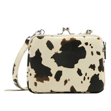 MICOCAH 2 Main Part Women Cross Body Bags PU Leather Cow Pattern Fashion Bag Metal Frame Zipper Closure HSD190 цена и фото